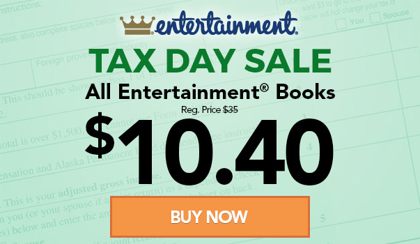 Entertainment Book Tax Day Sale!